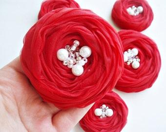 Red Roses Handmade Appliques Embellishments(5 pcs)