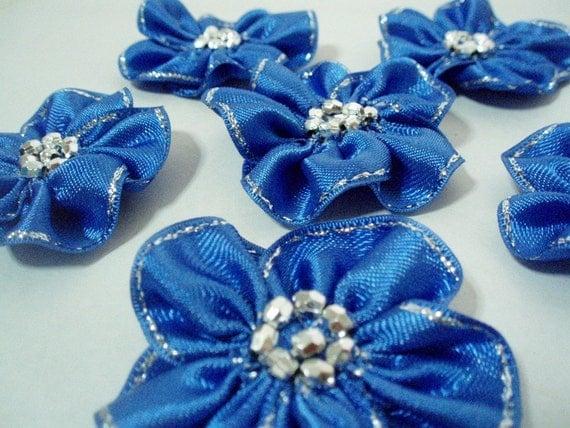 Handmade royal blue ribbon flower appliques by bizimsupplies - Appliques flos ...