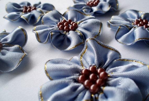 Handmade Blue Ribbon Flower Appliques Embellishments (6pcs)