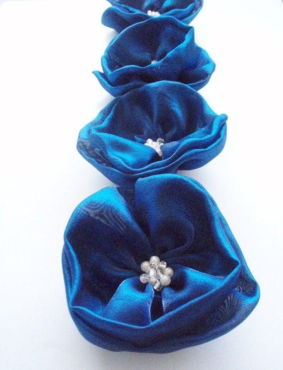 Royal Blue Flowers Handmade Appliques Embellishments(4 pcs)