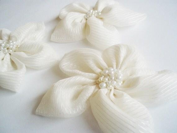 Cream Chiffon with Stripe Flowers Handmade Appliques Embellishments(3 pcs)
