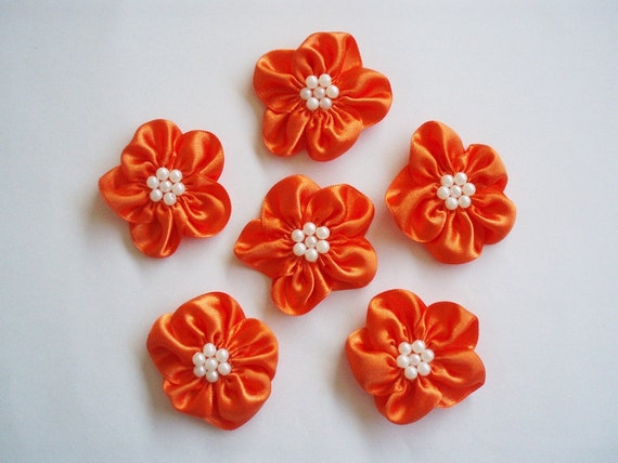 Handmade Orange Medium Ribbon Flower Appliques Embellishments (6pcs)