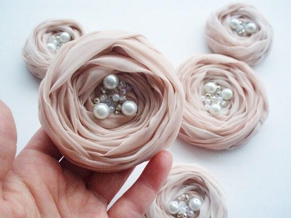 Pale Pink Roses Handmade Appliques Embellishments(5 pcs)