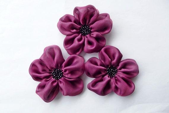 Cranberry Flowers Handmade Appliques Embellishments(3 pcs)
