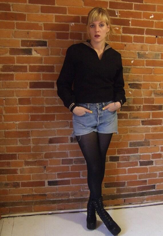 R E S E R V E D  1940s black naval uniform sweater