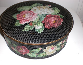 Antique tin,cookie tin,ButtonTin ,sewing tin ,vintage tin ,Guildcraft ,storage ,metal ,roses
