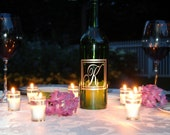 Wine Bottle Lantern in Script- As seen in BRIDES magazine and the 2012 Sports EMMY swag bags