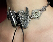 Steampunk choker Tattoo Angel's wings gears necklace Gothic neck corset
