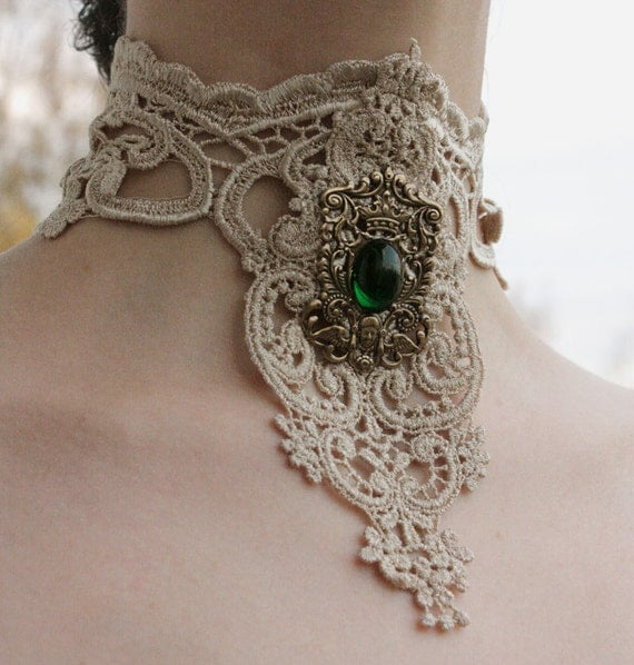 Steampunk choker Ivory venice victorian lacer collar with Emerald Royal Coat of Arms gothic necklace
