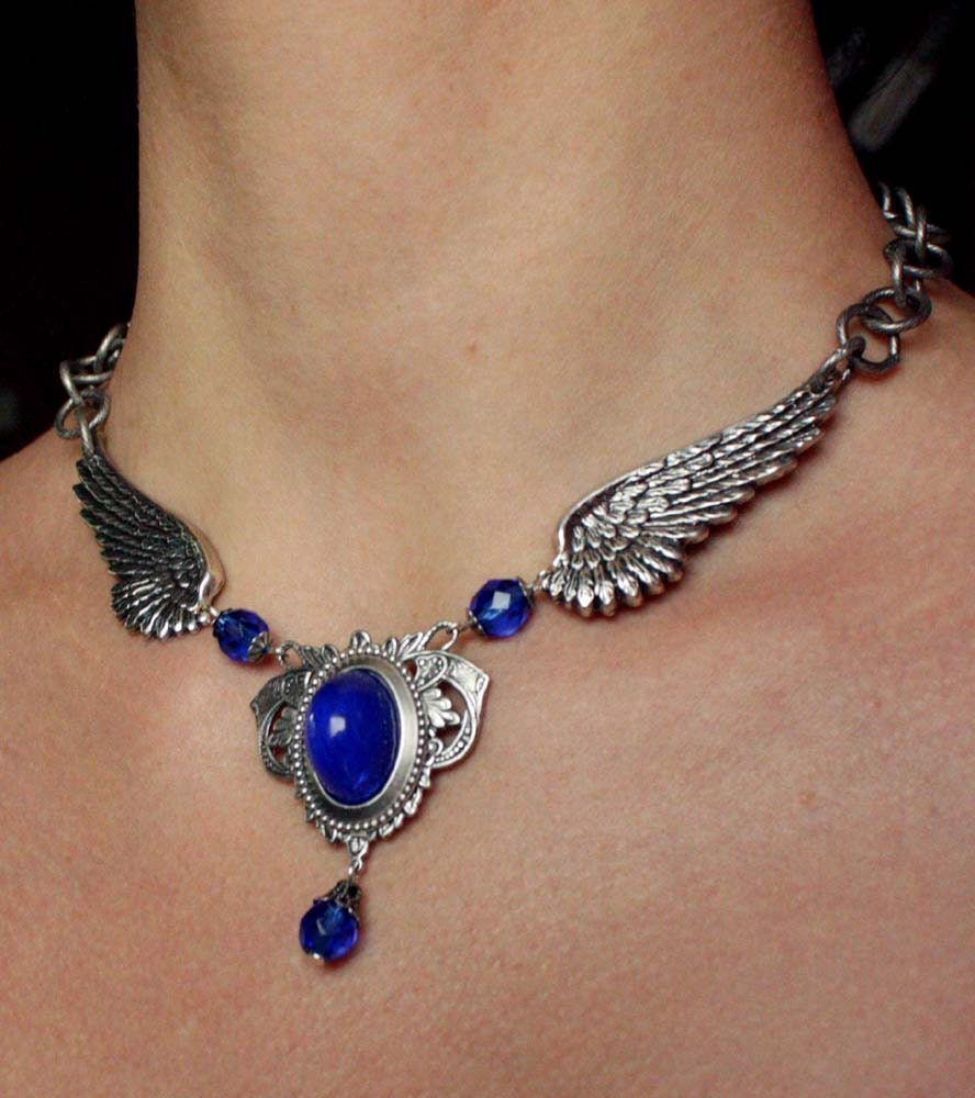 Tattoo Angel S Wings Silver Sapphire Blue Gothic Necklace