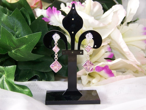 Sterling Silver with Clear and Pink Cubic Zirconia Dangle Earrings