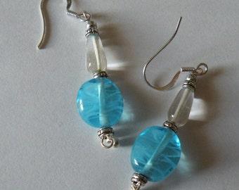 Earrings- Ocean Blue Swirled Glass