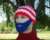 Bearded Beanie Patriot Hat Red White and Blue