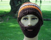 Bearded Beanie Hand Knit Brown Orange White or Colors of Your Choice