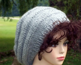 Knit Slouch Honeycomb Hat  Silvery Gray