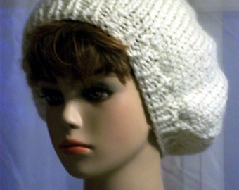 Hand Knit Slouch Hat for Women white