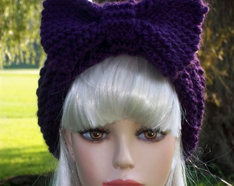 Pattern Knit Headband with Bow