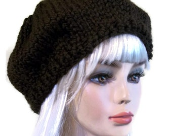 Knit Slouch Hat Brown