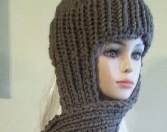 Knit Scarf Hat for Women Brownish Gray / Ready to Ship