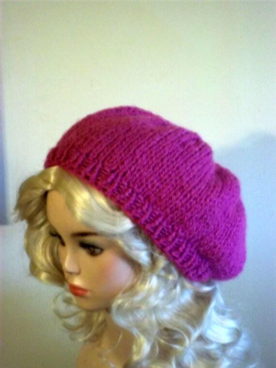 Knit Slouch Hat Women Beret Pink Women