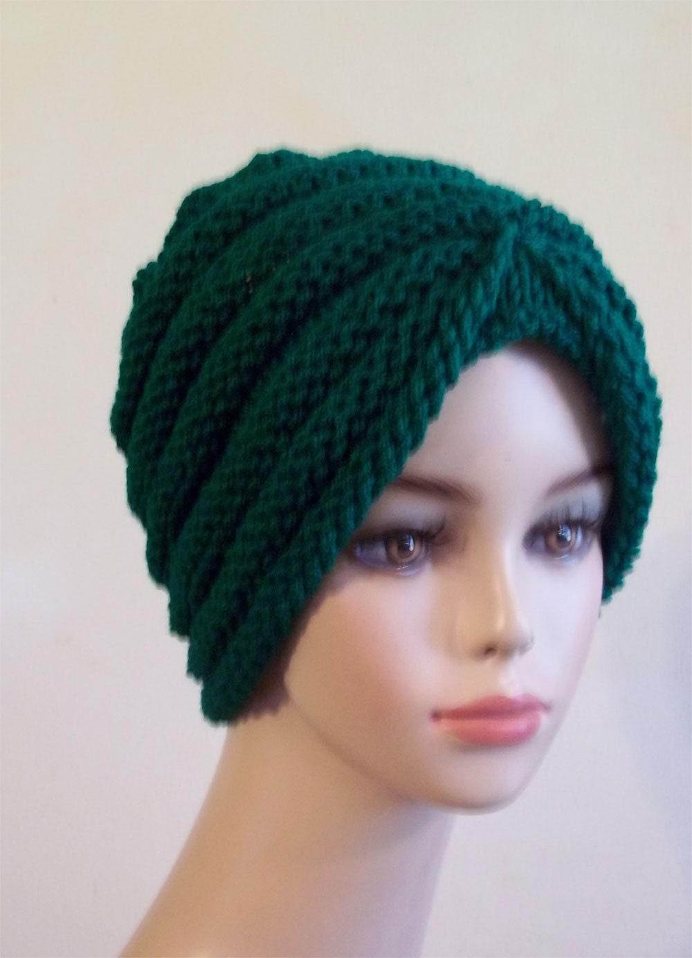 Knitted Turban Pattern Free : Knit Turban Hat Women Green