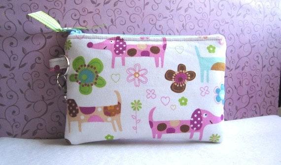Zipper Wristlet Pouch Purse Gadget  (Padded) PUPPY LOVE-white pink aqua green tan
