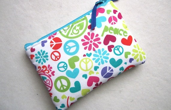 PADDED Zip Pouch Gadget Coin Card Case -PEACE w/ hearts flowers turq pink white green-Michael Miller