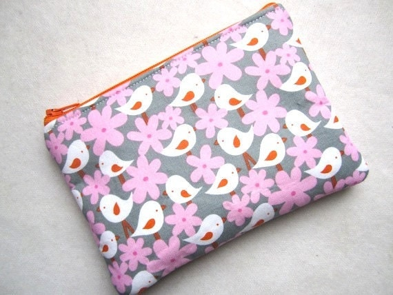 Zip Pouch Purse Gadget Coin Case Padded -Flock of BIRDS and Flowers- pink orange gray white