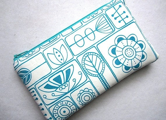 Zip Purse Pouch Gadget  Coin Card Case Padded -Primitive outline flowers and shapes- Turquoise -off white