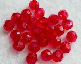 Red Acrylic Beads, Destash Beads, Beading Supplies, Destash Supplies, Jewelry Supplies, Craft Supplies, 6mm - 250 ct