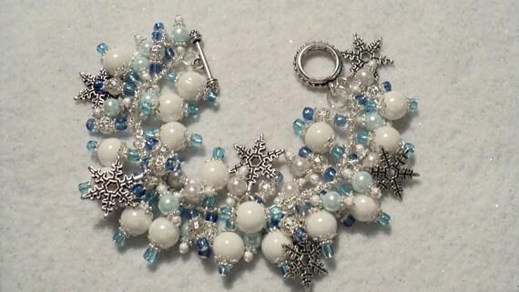 Beaded Charm Bracelet - WINTER WONDERLAND - White & Blue