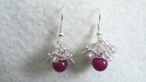 Raspberry Ice Dangle Earrings