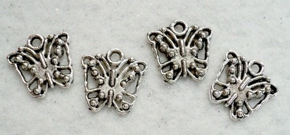 Butterfly Charms, Tibetan Silver Charms, Beading Supplies, Destash Supplies, Jewelry Supplies - Set of 4