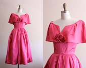 50s dress / vintage party dress / pink satin 1950s formal dress harry keiser // small