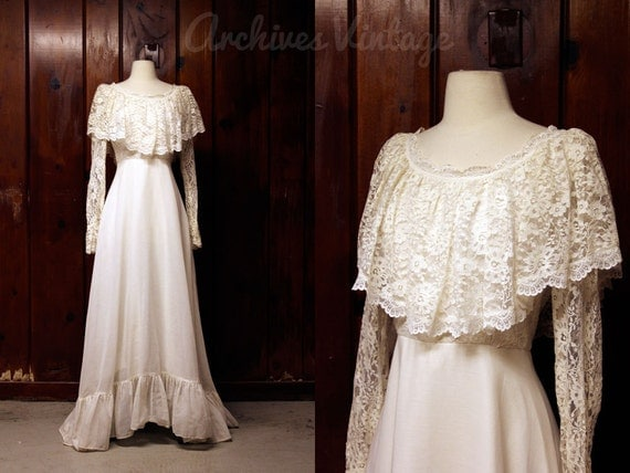 Vintage 70s Hippie Prairie Girl Wedding Dress Gown S M: Vintage Wedding Dress / White Lace 1960s 1970s By