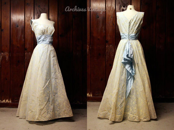 50s vintage wedding dress / 1950s bridesmaid dress / blue & yellow formal dress / small