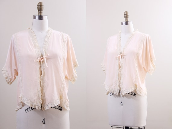 1930s bed jacket / silk & lace boudoir jacket / 30s lingerie