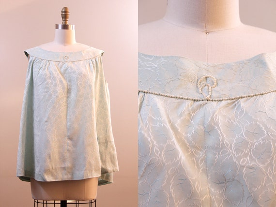 maternity top // vintage 50s green brocade & pearl maternity blouse // size large L