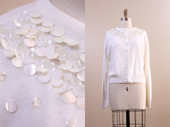 60s cardigan / vintage 1960s white sparkly sequin sweater // size extra large XL