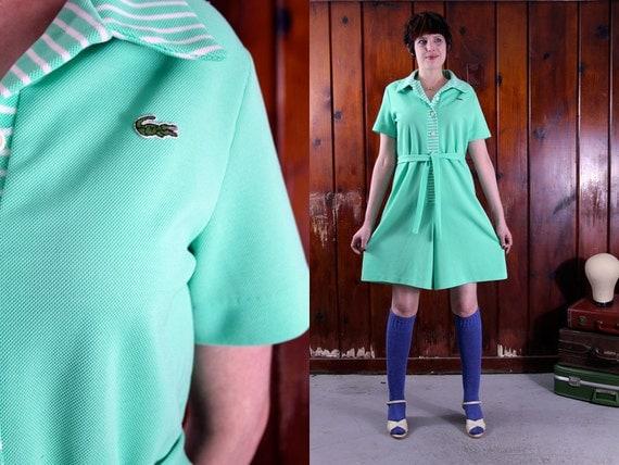 vintage lacoste romper / 1960s green shorts playsuit / size large / sporty preppy mint green L