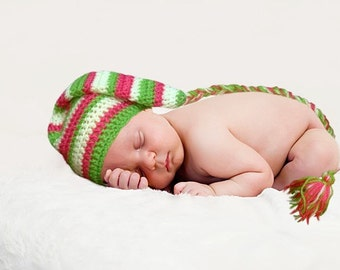 Cute sriped Elf hat on watermelon colours. Sizes 0-12 month.