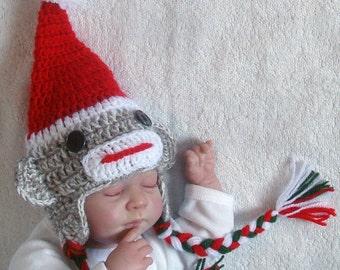 Sock Monkey Christmas hat. Sizes 0-12