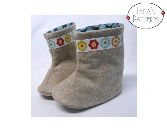 Easy Sewing Pattern - Baby Flower Power Boots - pdf