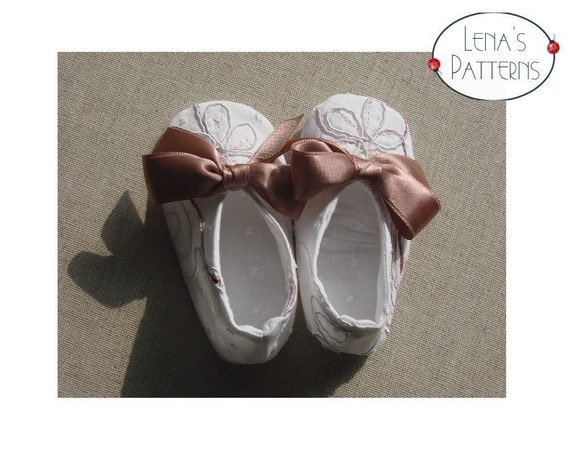 Easy Sewing Pattern for Ballerina Baby Bow Shoes - 0-24 months - DIY - PDF