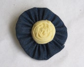 YELLOW flower, rose, and Denim HAIR CLIP