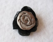Cute fabric light brown, shiny capuccino, flower hair clip, with BLACK lace