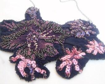 Sale--Nina Vintage Necklace -Beaded APPLIQUE-