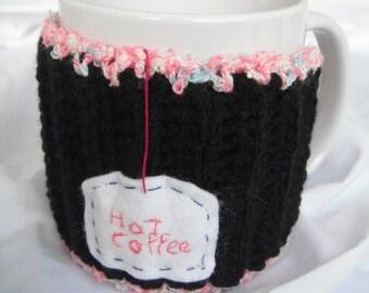COZY Coffee Cup or Mug - BLACK- Hot Coffee-