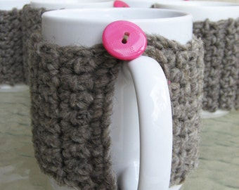 1 coffee cup COZY - Natural wool- GRAY, brownish with 2 pink buttons