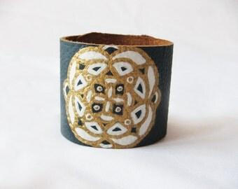 Golden and White Mandala 2 inch Blue Leather Bracelet / Cuff ----symmetrical mandala----